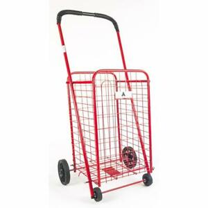 Athome Small Deluxe Rolling Utility Shopping Cart Stowable Folding Heavy Dut