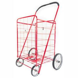Athome Large Deluxe Rolling Utility Shopping Cart Stowable Folding Heavy Dut