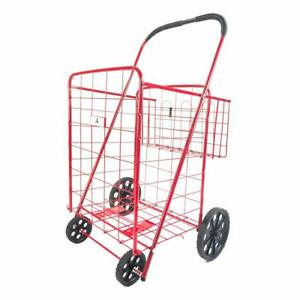 Athome Large Deluxe Rolling Utility Shopping Cart With Basket Stowable Foldi