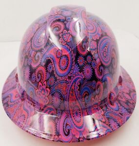New Full Brim Hard Hat Custom Hydro Dipped Hot Pink Brad Paisleys free Shipping
