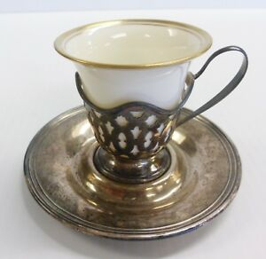 International Sterling Silver Demitasse Cup Saucer Lenox Liner Insert
