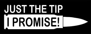 Just The Tip I Promise Bullet Funny Vinyl Decal Sticker Car Truck Window