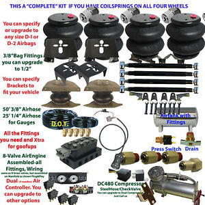 Air Suspension Kit complete 1973 87 Chevy C20 c30 With Stainless 3 gal Tank