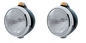 Pair Black Guide Style Headlights With Turn Signals Marker Light Hotrod Rat Rod