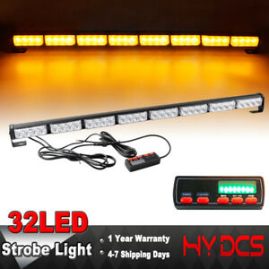 35 Inch 32 Led Amber Flashing Traffic Adviser Directional Arrow Strobe Light Bar