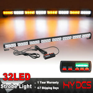 35 32 Led Amber White Flash Traffic Adviser Directional Arrow Strobe Light Bar