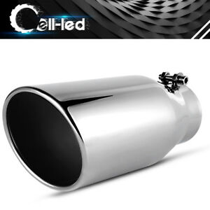 Bolt On Exhaust Tip 3 5 Inlet 5in Slant Outlet 12 Overall Stainless Steel