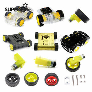 4wd 2wd Robot Smart Car Chassis Kits Speed Encoder 66x26mm Tire For Arduino