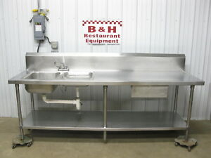 96 Stainless Steel Heavy Duty Kitchen Work Prep Table W 2 Bowl Sink Drawer 8