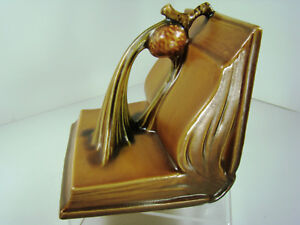 Roseville Art Pottery Gorgeous Single Pinecone Bookend 1 4 Tan Art Deco