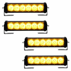 4pcs Amber 6 led Vehicle Emergency Beacon Warn Hazard Strobe Flash Light Car Suv