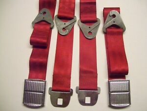 Seat Belts Pair Ford 1964 Original B4a Chrome Deluxe Mustang Fairlane Galaxie