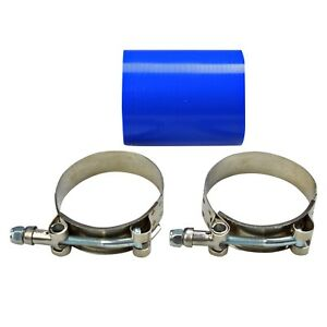 2 5 Inch Straight Silicone Hose Pipe 63 Mm Intercooler Coupler Turbo Blue Clamp