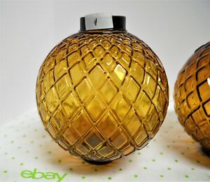 Vintage 5 W X 5 5 H Flat Quilted Amber Glass Lightning Rod Weather Vane Ball