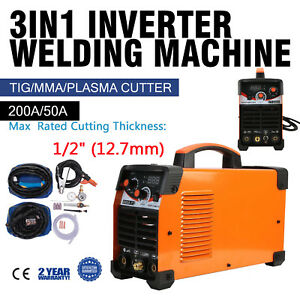 3 In 1 Plasma Cutter Ct520d 50a 200a Tig Arc Stick Welder 110 220v Dual Voltage