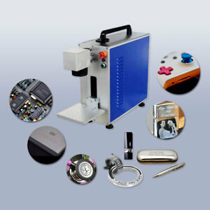 Usa 110v Portable 20w Fiber Laser Marking And Engraving Machine With Ratory Axis