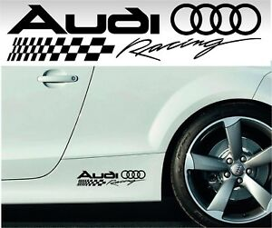 2 Audi Racing 11 Stickers Decals Quattro Wheels Rims Side Skirt Sport Colors