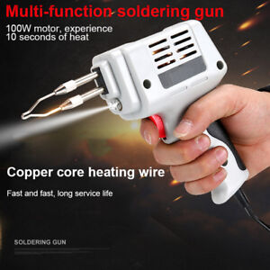 100w Electric Soldering Iron 10 Pcs Tin Welding Tool Kit Solder Wire With Led
