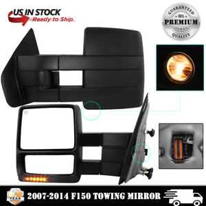 Towing Mirror Power Heated Turn Puddle Lights Electric For 2007 2014 Ford F150