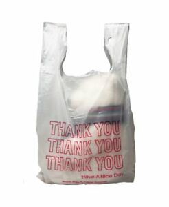 T shirt Bags 18x8x28 Plastic Bags 0 65 Mil pack Of 100 White Grocery Bags