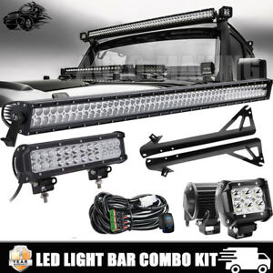 52 Inch 700w Led Light Bar 4 Pods Combo Set Driving For For Jeep Wrangler Jk