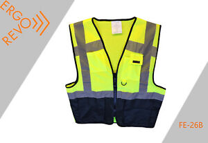 10 Pack contractor Reflective mesh Safety Vest ppe black Yellow Size Large