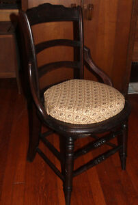 Art Nouveau Parlour Side Vanity Chair Balloon Back Round Seat Hip Brace Carved