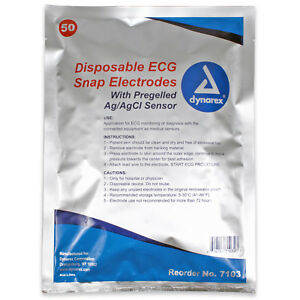 Dynarex Disposable Ecg Snap Electrodes With Pregelled Ag agcl Sensor 50mm X 55mm