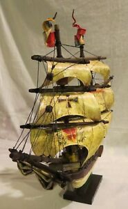 Vintage Royal Spanish Galeon 15th Century Style Model Sailing Ship Refurbished