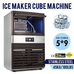 Commercial Ice Maker Automatic Stainless Steel 100lbs 24h Freestanding Portable