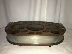Art Deco Wood Bar Caddy Drinks Serving Tray Antique Vintage