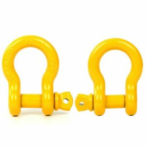 3 4 D Ring Shackle Galvanized Jeep Towing Chain Bow Buckle 4 5t Yellow 2 Pack
