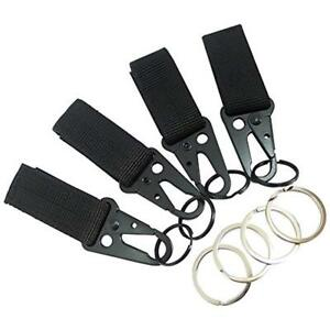 4 Pcs Tactical Key Ring Belt Holder Nylon Clips Keeper With 1 Hk Hooks Keychain