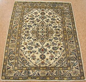 Persian Kashann Hand Knotted Wool Ivory Blue Floral Oriental Rug 3 X 5