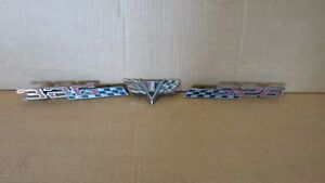 3 Vintage Emblems 2 Pontiac 326 Emblem Badge Script Trim Metal Chrome Decal Car