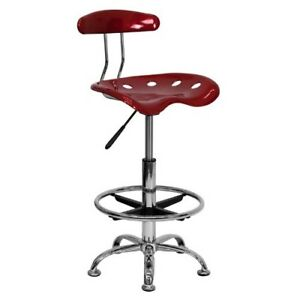 Office Chair Drafting Stool Tractor Seat Tall Height Swivel Bar Work Table Red