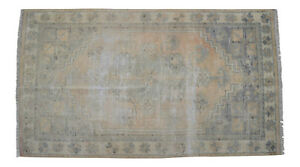 Vintage Distressed Area Rug Hand Knotted Low Pile Turkish Oushak Rug 2 8 X 4 9