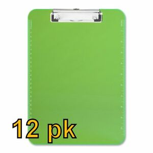 Value Pack Of 12 Low Profile Plastic Clipboards Letter Size Green