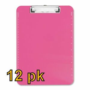 Value Pack Of 12 Low Profile Plastic Clipboards Letter Size Pink