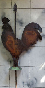 Nice Antique Folk Art Sheet Metal Weathervane Like Rooster Barn Ornament Whimsy
