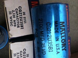 Mallory Can Capacitors Cg212u35b1 2100 Mfd 35 Wvdc All Are New 4 Are In Box A