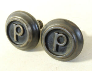 2 Antique Vtg Victorian Door Knob Letter P Pennsylvania Philadelphia Pittsburgh