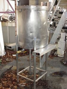 45 Gallon Sanitary Stainless Steel Tank Slant Bottom Mix Or Storage