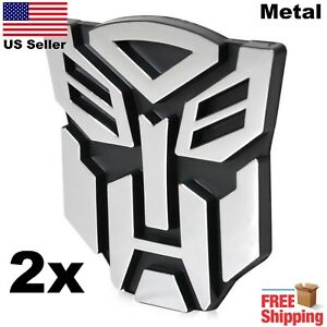 2 Pack 3d Metal Transformers Emblem Autobots Optimus Prime Car Sticker 3