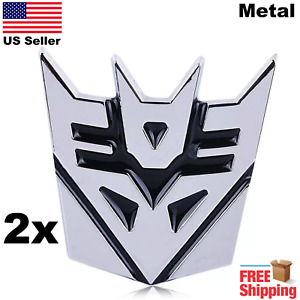 2 Pack 3d Metal Transformers Emblem Autobots Decepticon Car Sticker 3