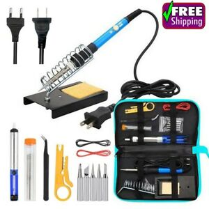 Soldering Iron Kit Adjustable Temperature Electric Tin Wire Tweezers 110v 220v