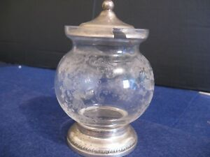 Jelly Jar W Sterling Silver Top By Sheffield Silver Pretty Floral Etching