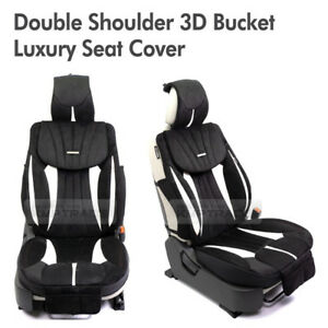 Double Shoulder 3d Bucket Ultra Suede Luxury Seat Cover Black 1ea For All Car