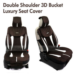 Double Shoulder Bucket Ultra Suede Luxury Seat Cover Dark Brown 1ea For All Car