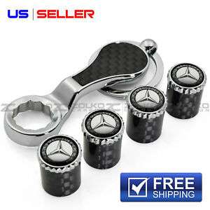 Carbon Fiber Valve Stem Caps Keychain Wheel Tire For Mercedes Benz Us Seller